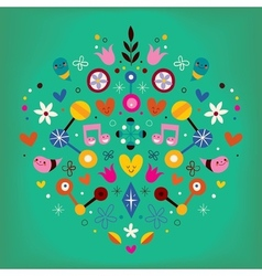 Nature love harmony heart abstract art retro vector
