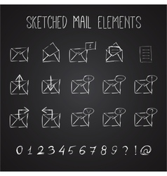 Sketched mail elements set vector