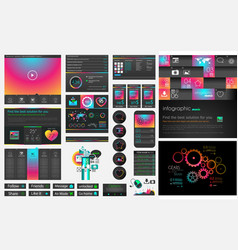 Ui flat design web elements and layouts with vector