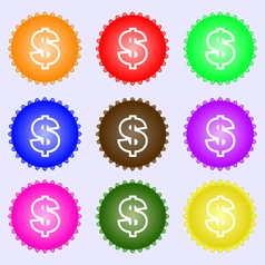 Dollar icon sign a set of nine different colored vector
