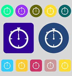 Timer sign icon stopwatch symbol 12 colored vector