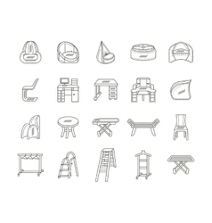 Furniture flat line icons collection vector