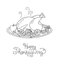 Doodle thanksgiving turkey meal freehand vector