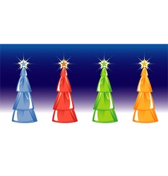 Christmas trees on blue background vector