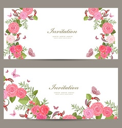 collection horizontal banners with blossom of vector image