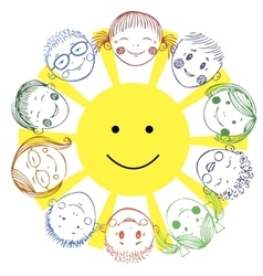 Group of kids with sun vector