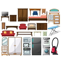 Furnitures and electronic equipments vector