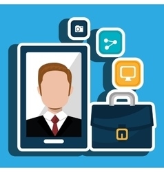 Executive man and cellphone isolated icon design vector