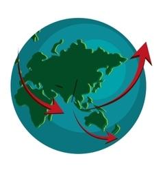 earth globe with arrows icon vector image
