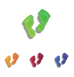 Foot prints sign colorfull applique icons set vector