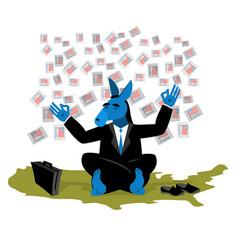 Blue donkey democrat meditates to vote in vector