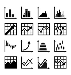 Business chart and graphics icons set vector image