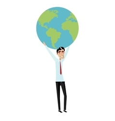 Businessman holding a globe overhead vector image vector image