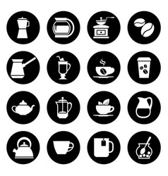 coffee icons set in black and white vector image vector image