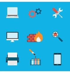 Computer service icons flat vector