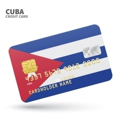 Credit card with Cuba flag background for bank vector image vector image
