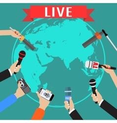 Few hands of journalists with microphones vector image