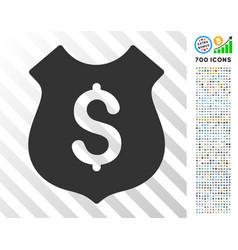 Financial shield flat icon with bonus vector