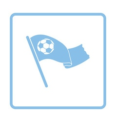 Football fans waving flag with soccer ball icon vector