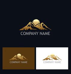gold mountain logo vector image vector image