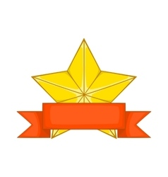 Gold star award with ribbon icon cartoon style vector image