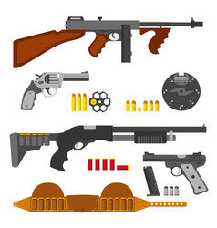 Guns flat set machine gun thompson rifle revolver vector