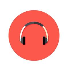 Headset flat circle icon vector