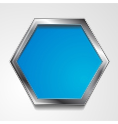 Hexagon shape with silver frame vector