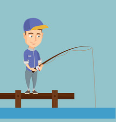 Man fishing on jetty vector