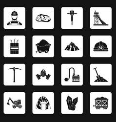 Miner icons set squares vector