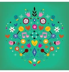Nature love harmony heart abstract art retro vector