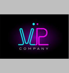 Neon lights alphabet vp v p letter logo icon vector