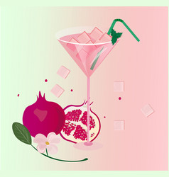 Pomegranate fruits fresh cocktail glass summer vector
