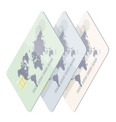 realistic credit card with world map vector image vector image