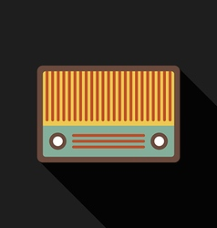 Retro vintage radio flat design isolated icon vector
