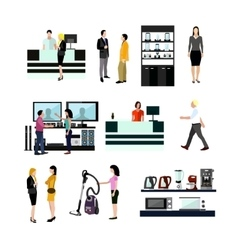 Set of people shopping in home electronic vector