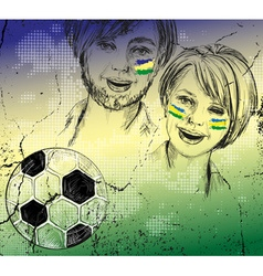 Sketch of brazilian soccer fans vector