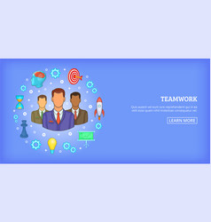 Teamwork banner horizontal cartoon style vector