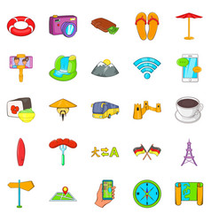 Transborder icons set cartoon style vector