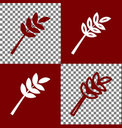 Tree branch sign bordo and white icons vector