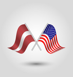 two crossed latvian and american flags vector image vector image