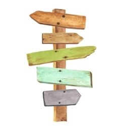 Watercolor wooden signpost vector