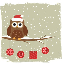 Winter card with cute owl vector image vector image