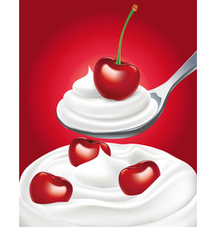 Yogurt cream with sweet fresh cherry vector