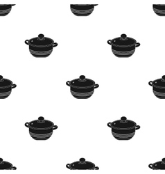 Stockpot icon in black style isolated on white vector