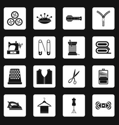 Sewing icons set squares vector