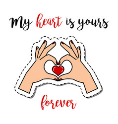 Patch element with hands holding heart vector