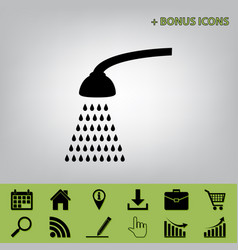Shower simple sign  black icon at gray vector