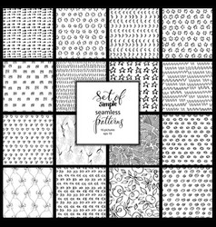 set of hand drawn simple black and white textures vector image