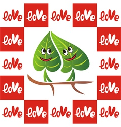 Leaves valentines day card vector